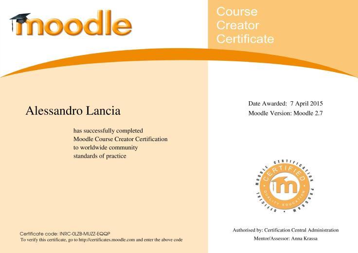 Moodle Certificate