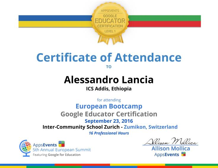 Google Certified Educator – Alex Lancia